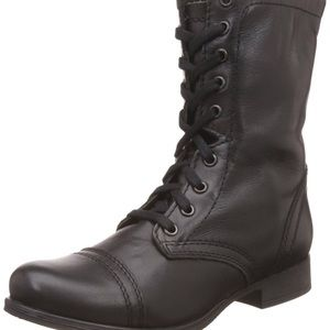 Steve Madden Troopa Black Leather Boots